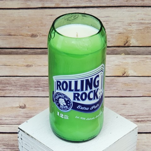 Rolling Rock Candle